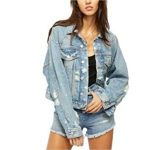 FREE PEOPLE Night After Night Denim Jacket Sz L